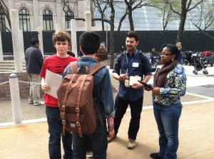 AMNH Youth Initiatives coordinator Nathan Bellomy accompanies UxN focus group participants on their field work in Central Park.