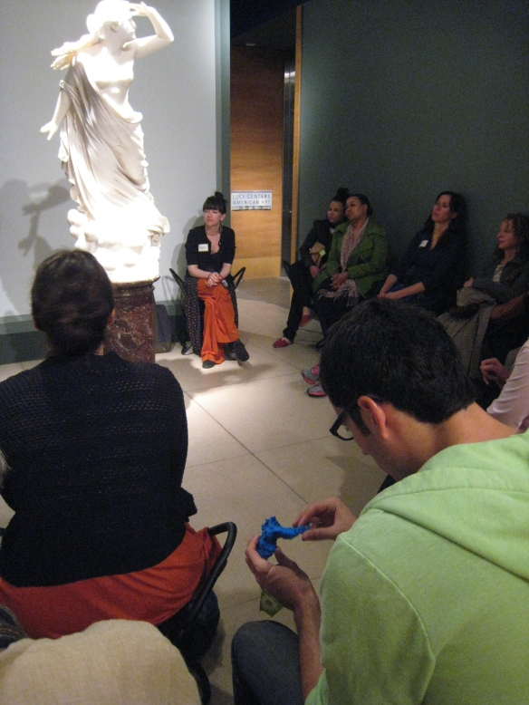 "Visitors examining the 3D print of Randolph Rogers' ""The Lost Pleiad"", Brooklyn Museum."