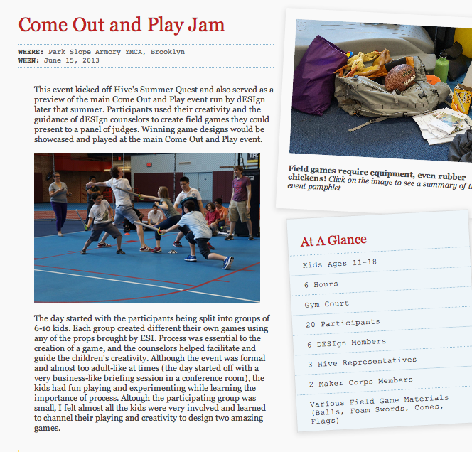 Come Out and Play Game Jam Challenge webpage by Claudia and Do Hyung